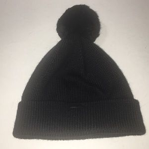 Coach Yarn Pom Hat Stocking Cap Black One Size 561